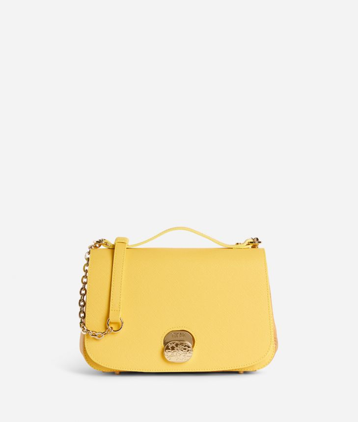 Lady Bag Tracolla in tessuto saffiano Gialla,front