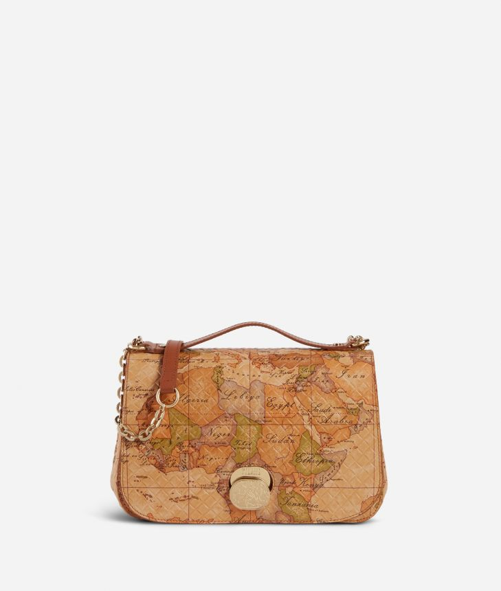 Lady Bag Tracolla in nappa stampa Geo Classic,front