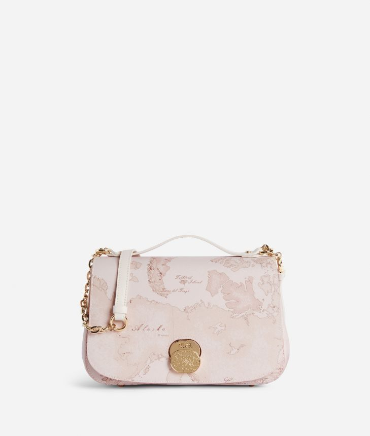 Lady Bag Tracolla in tessuto Geo Nude Rosa,front