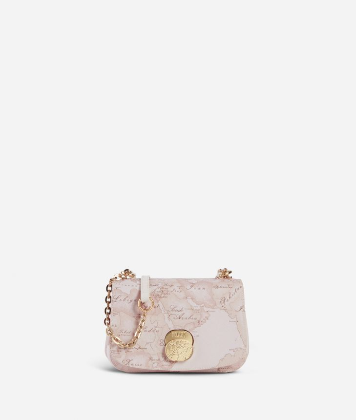 Lady Bag Small crossbody bag  in Geo Nude saffiano embossed fabric,front