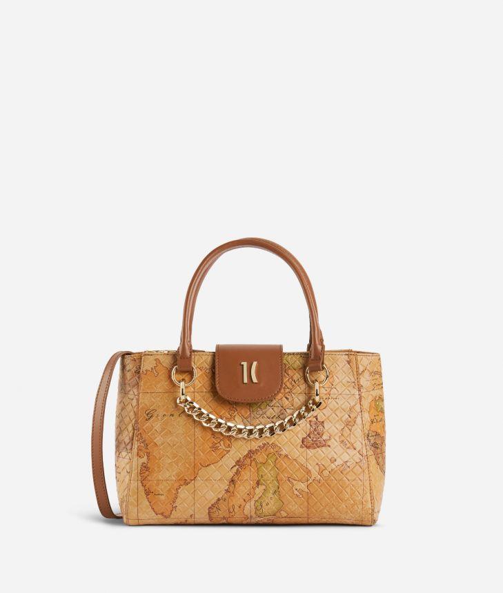 Geo Shine Small handbag in Geo Classic print nappa,front