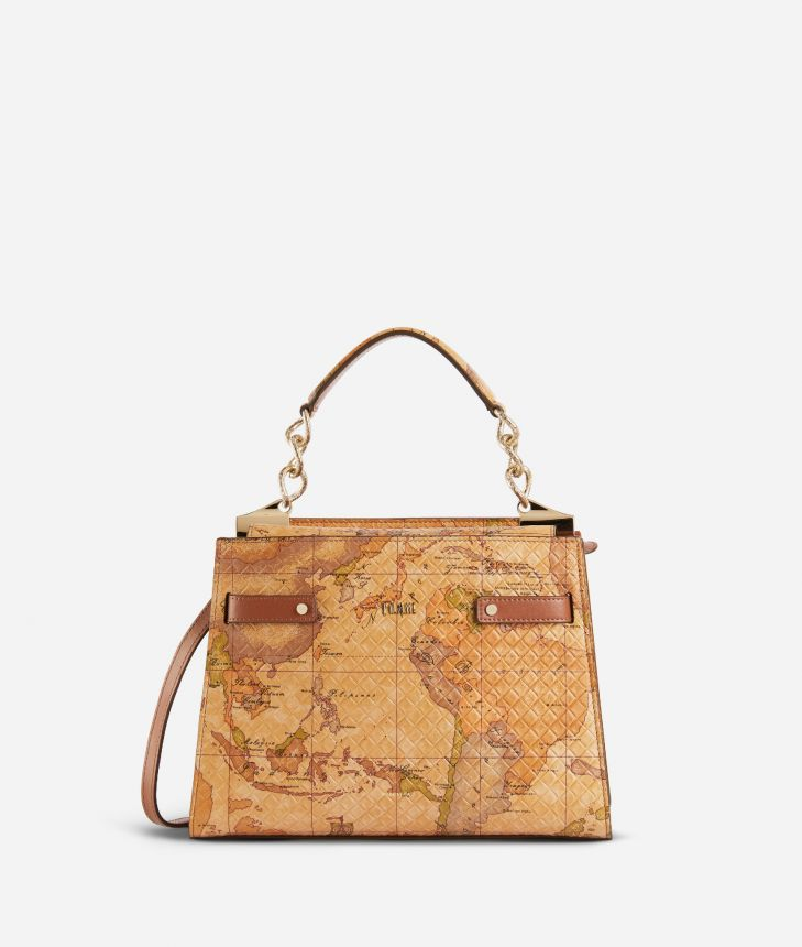 Diva Bag Handbag in Geo Classic print nappa,front