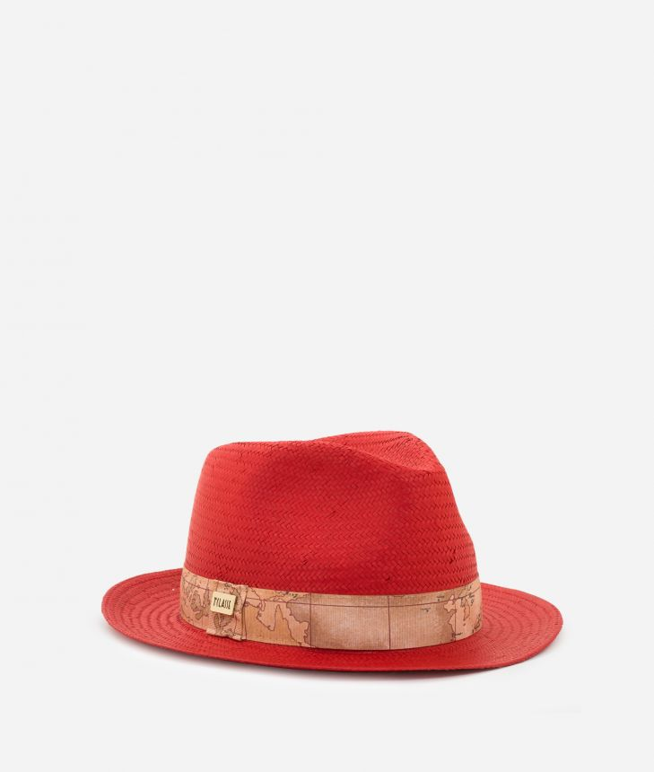 Casual Hat with Geo Classic detail Red,front