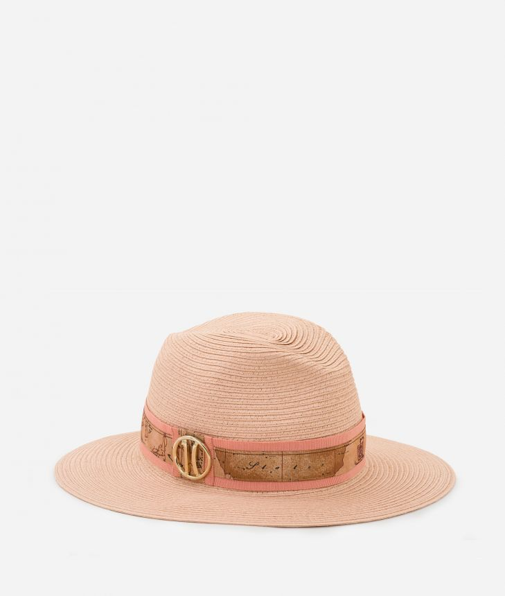 Stitched braid hat with Geo Classic detail Pink,front