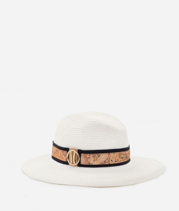 Stitched braid hat with Geo Classic detail White,front