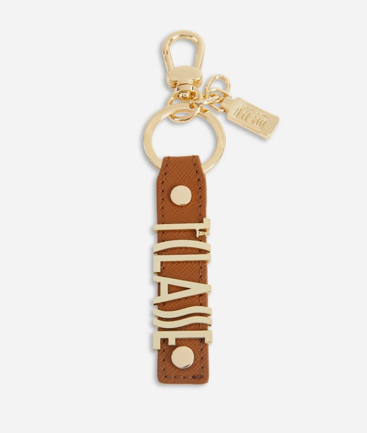 Keyring with logo in embossed fabric Brown,front