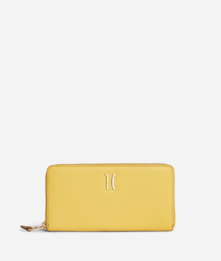 Pacific Ziparound wallet in grainy cowhide leather Yellow,front
