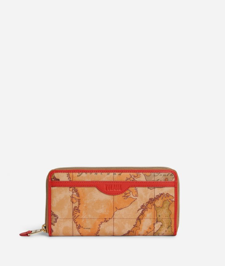 Soft Sound Ziparound wallet in Geo Soft Classic fabric Red,front