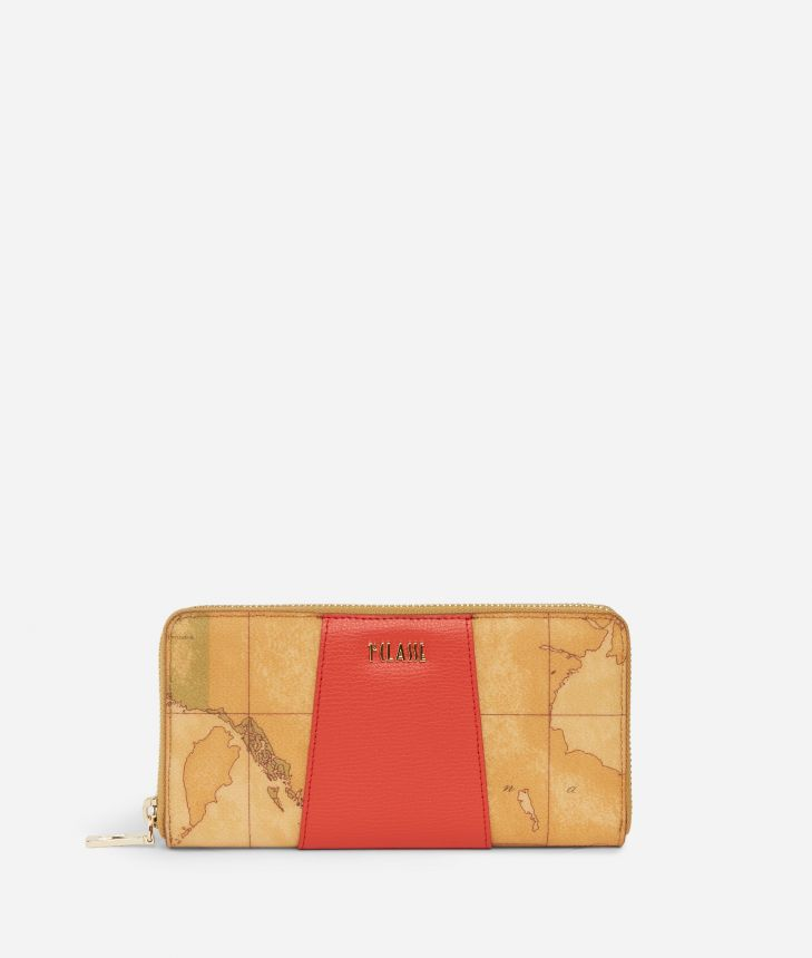 Lotus Flower Ziparound Wallet in Geo Classic print fabric Red,front