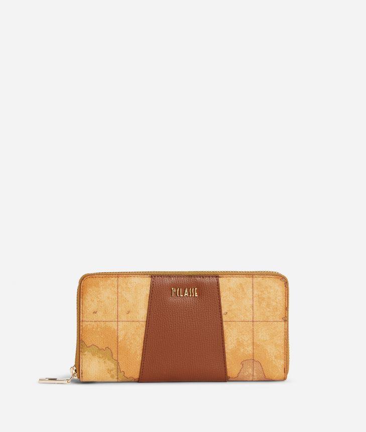 Lotus Flower Ziparound Wallet in Geo Classic print fabric Brown,front