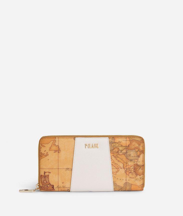 Lotus Flower Ziparound Wallet in Geo Classic print fabric White,front