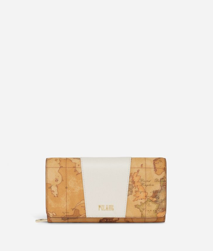 Lotus Flower Wallet in Geo Classic print fabric White,front