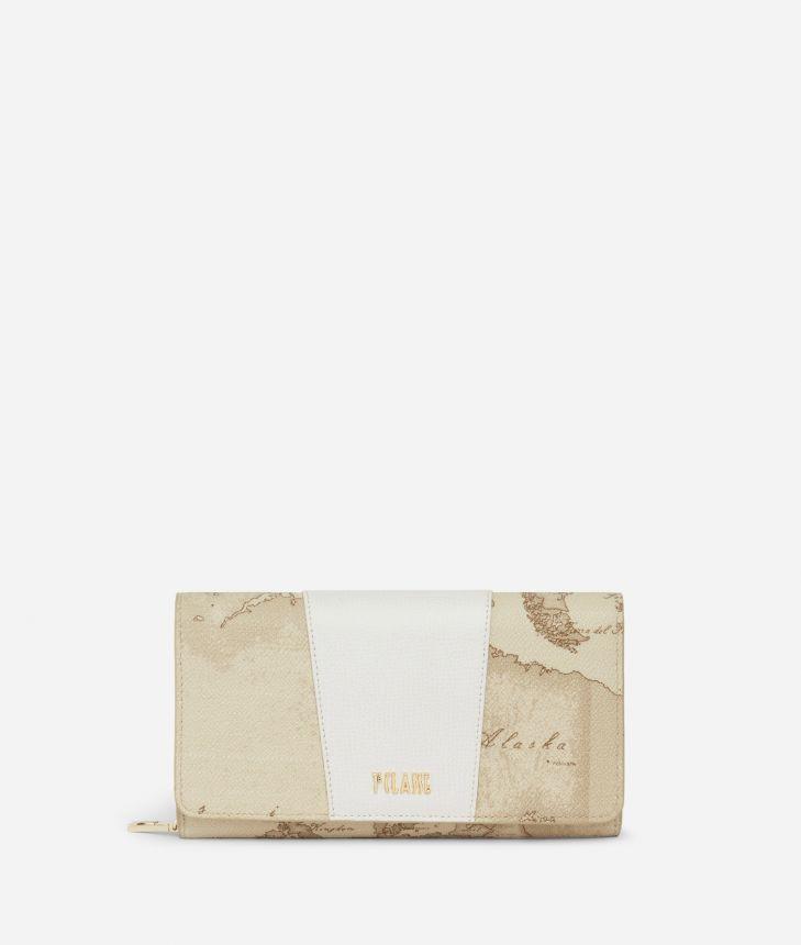 Lotus Flower Wallet in Geo Safari print fabric Beige,front