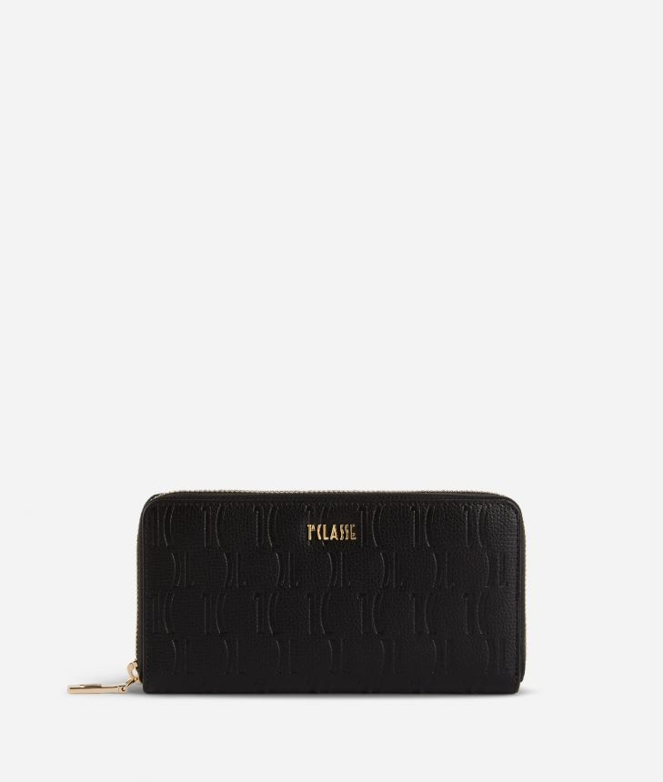 Nappa Monogram Ziparound wallet in leather with 1C impression Black,front