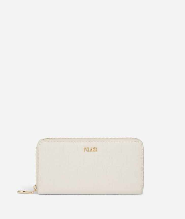 Nappa Monogram Ziparound wallet in leather with 1C impression White,front
