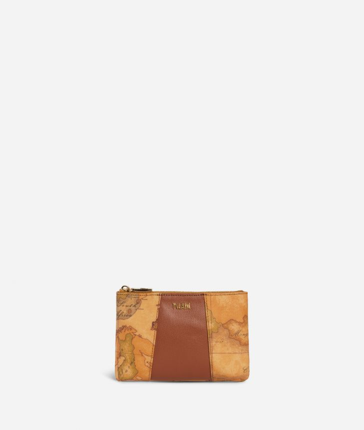 Lotus Flower Pouch in Geo Classic print fabric Brown,front