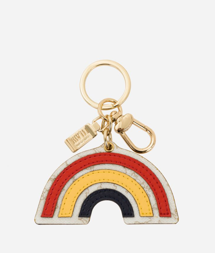 Rainbow-shape keyring in smooth leather Multicolor,front