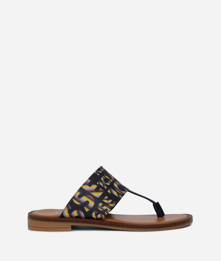Logo Power Woman's flip flops with all-over 1a Classe logo print Midnight Blue,front