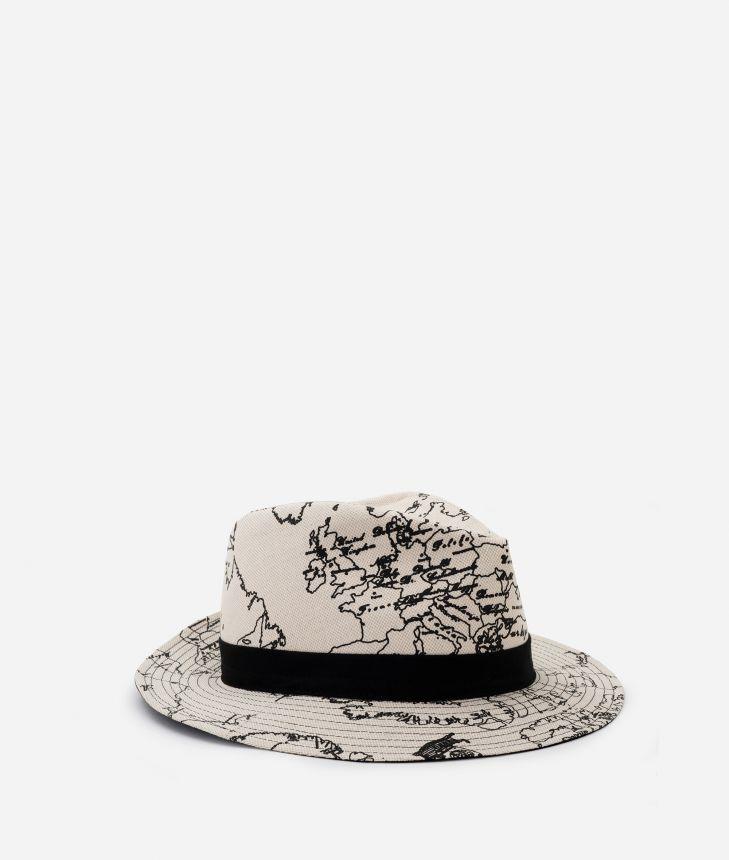 Geo Écru Woman's linen and cotton Hat,front