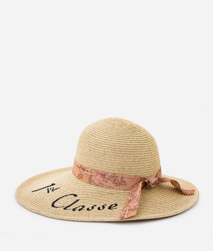 Pool Party straw hat with ribbon in Geo Classic and maxi logo 1a Classe Black,front