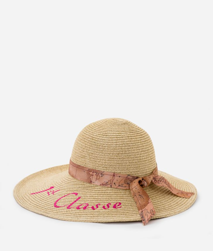 Pool Party straw hat with ribbon in Geo Classic and maxi logo 1a Classe Cyclamen,front