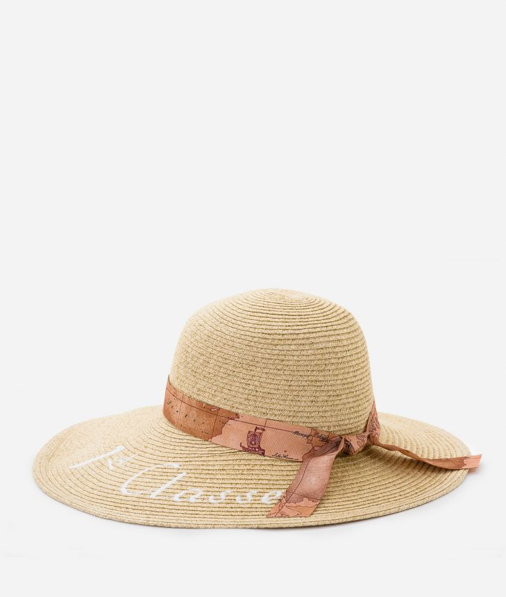 Pool Party straw hat with ribbon in Geo Classic and maxi logo 1a Classe White,front