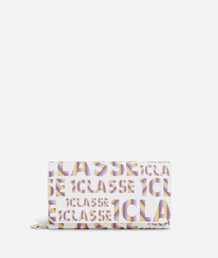 Logo Power woman's Wallet with all-over 1a Classe logo print White,front
