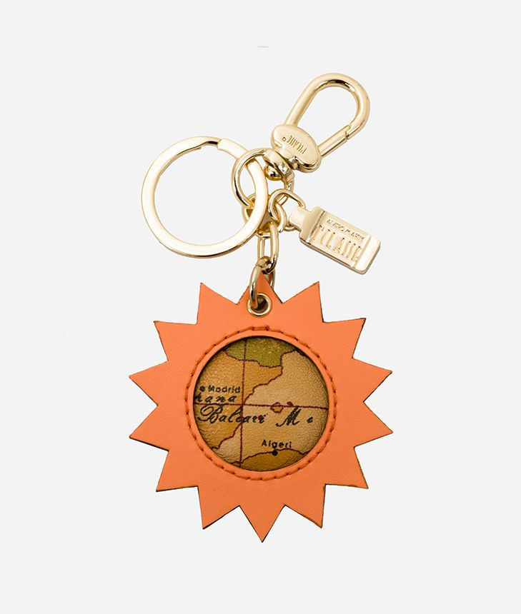 Charm-Keyholder Sun in leather and Geo tassel Salmon,front