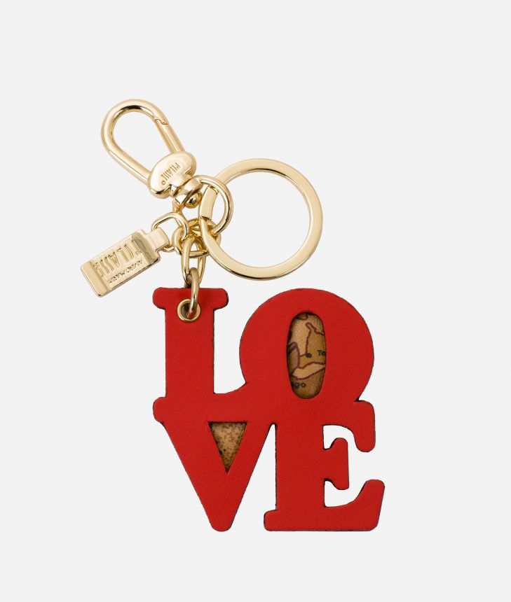 Charm-Keyholder Love in leather and Geo tassel Coral Red,front