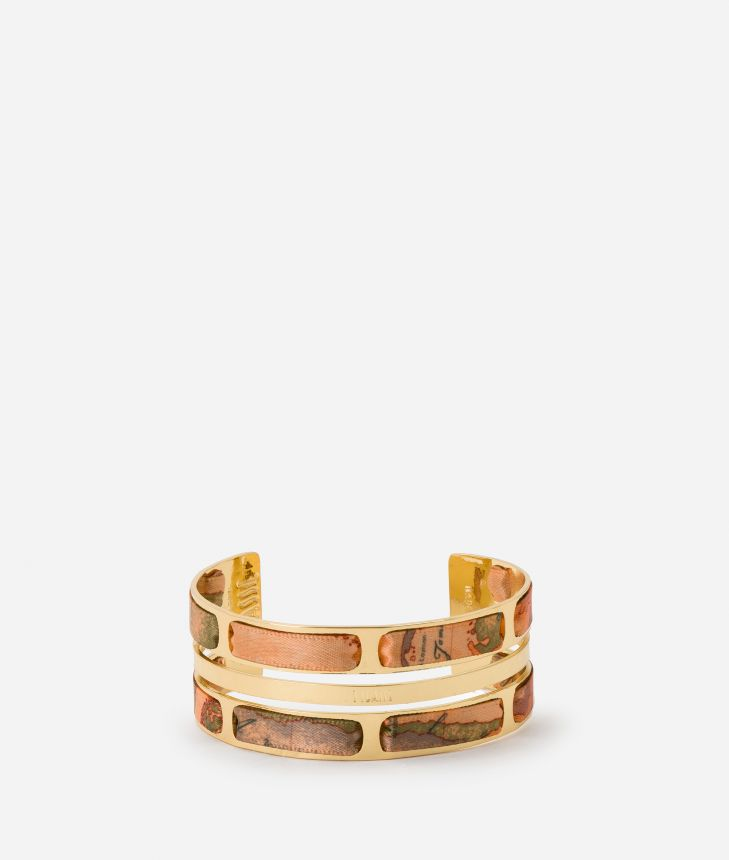 Double Bangle Bracelet with ribbon and Geo Classic details,front