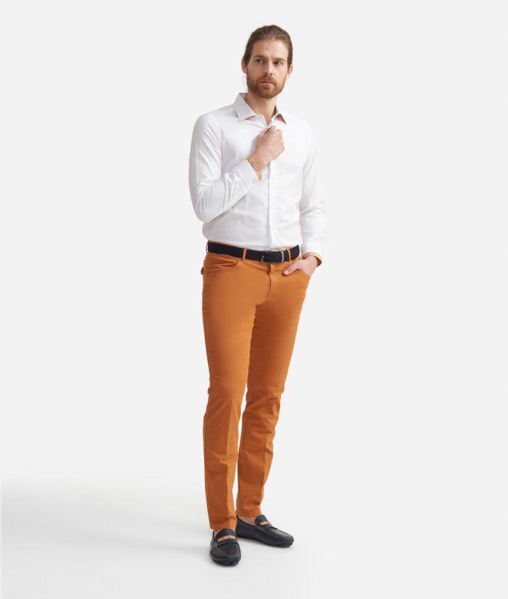 Camicia slim fit in cotone con profili Geo Classic Bianca,front