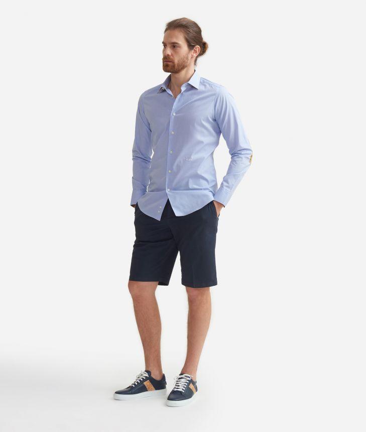 Camicia slim fit in cotone con profili Geo Classic Azzurra,front