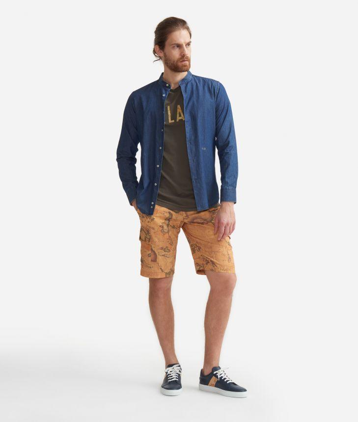 Camicia slim fit con colletto alla coreana in cotone denim Blu,front