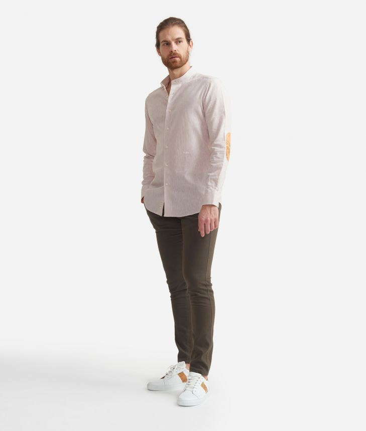 Camicia slim fit con colletto alla coreana in misto lino con toppe Geo Classic Beige,front
