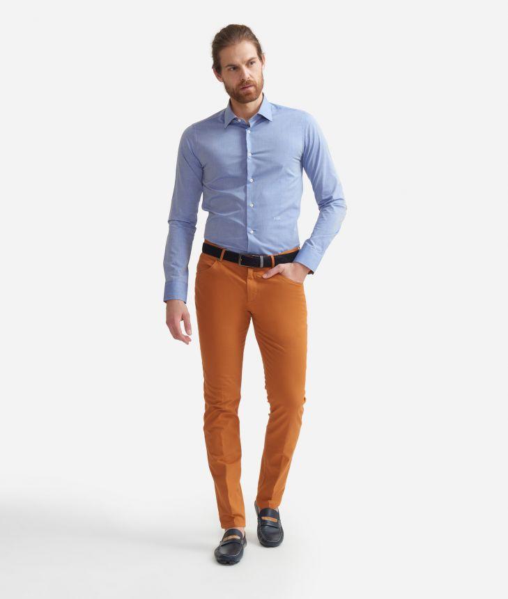 Camicia super slim fit  in cotone con toppe Geo Classic Blu,front