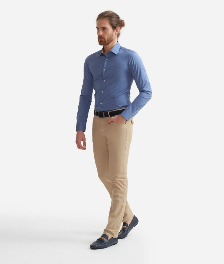 Super slim fit shirt in cotone con toppe Geo Classic Jeans,front