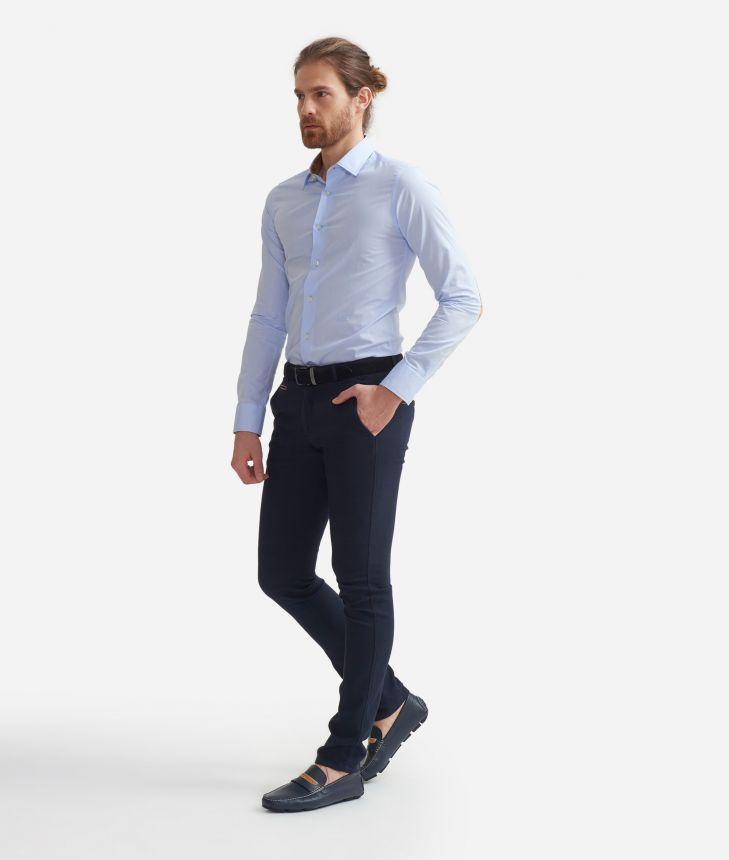 Super slim fit shirt in cotone con toppe Geo Classic Azzurro,front