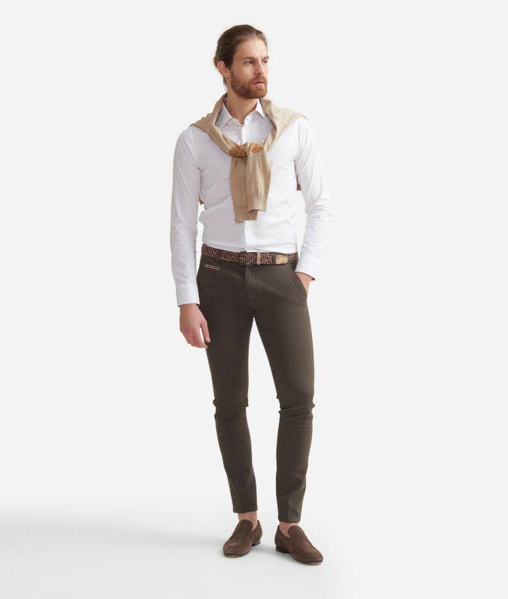 Camicia super slim fit  in misto cotone con toppe Geo Classic Bianco,front