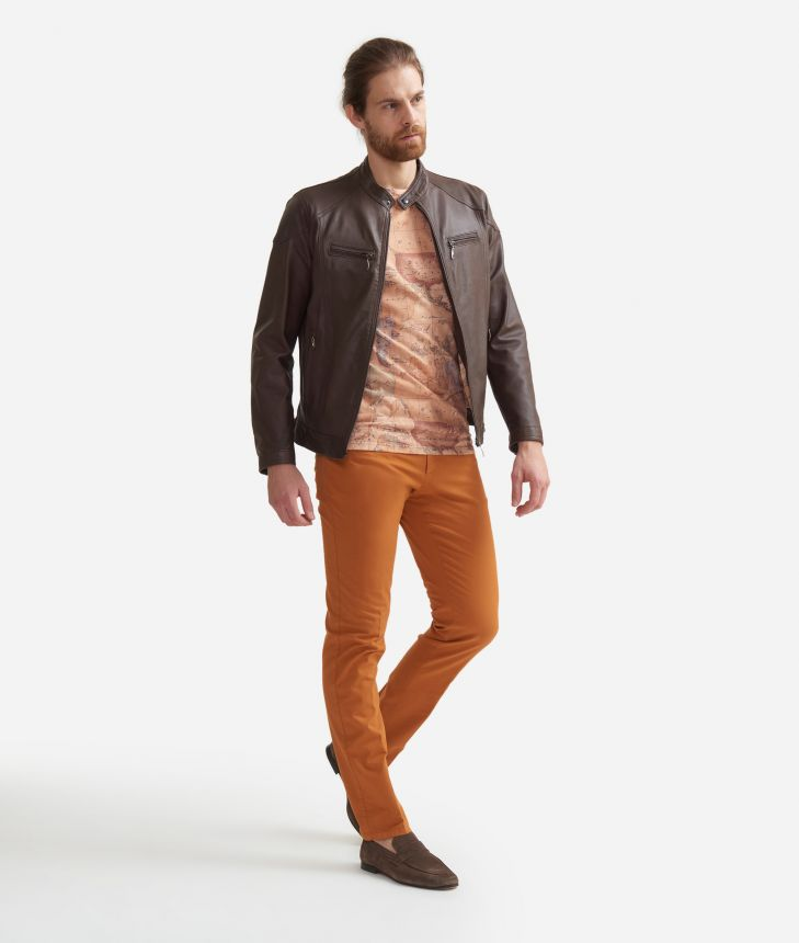 Leather jacket Brown,front