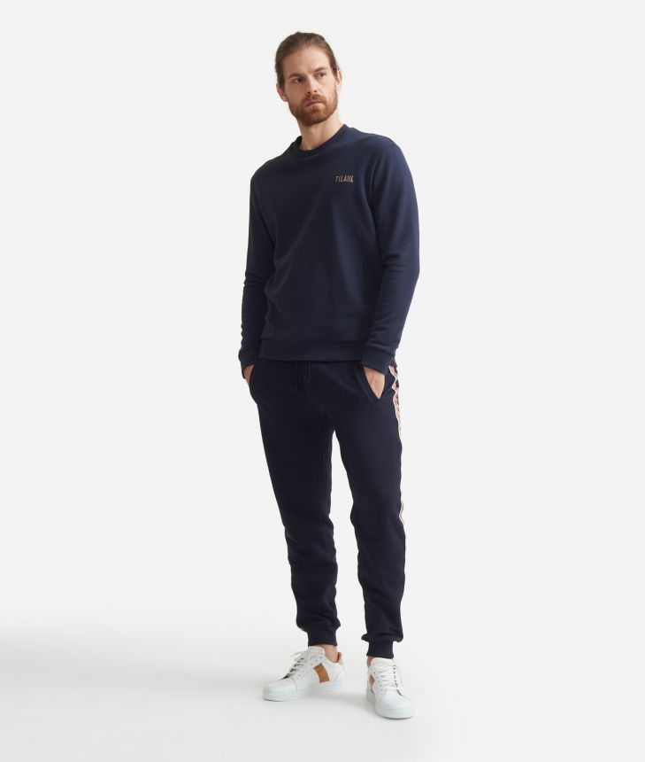 Crewneck sweatshirt in fleece cotton Blue,front