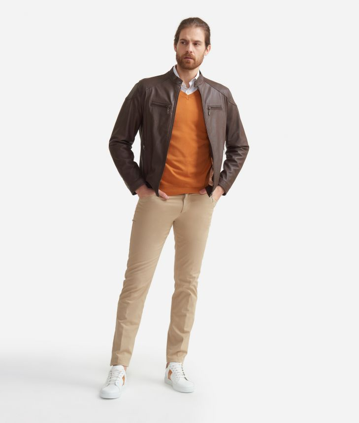 5-pockets pants slim fit in cotton Beige,front