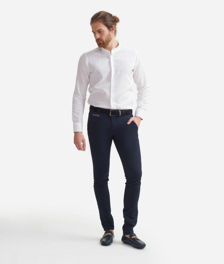 Super slim fit pants in cotton Blue,front