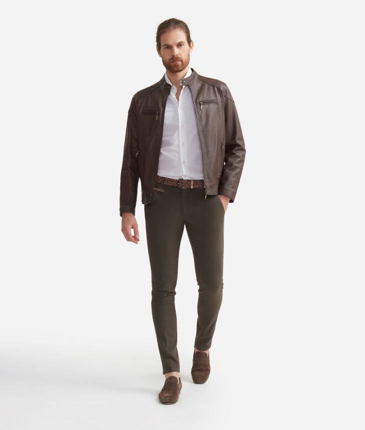 Super slim fit pants in cotton Brown,front