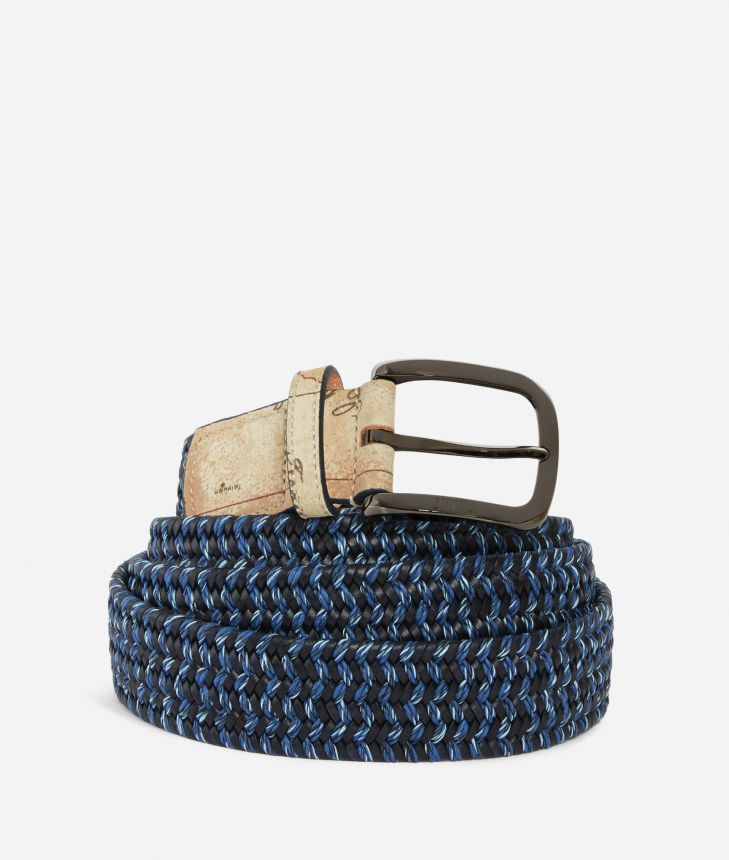 Belt in leather Blue,front