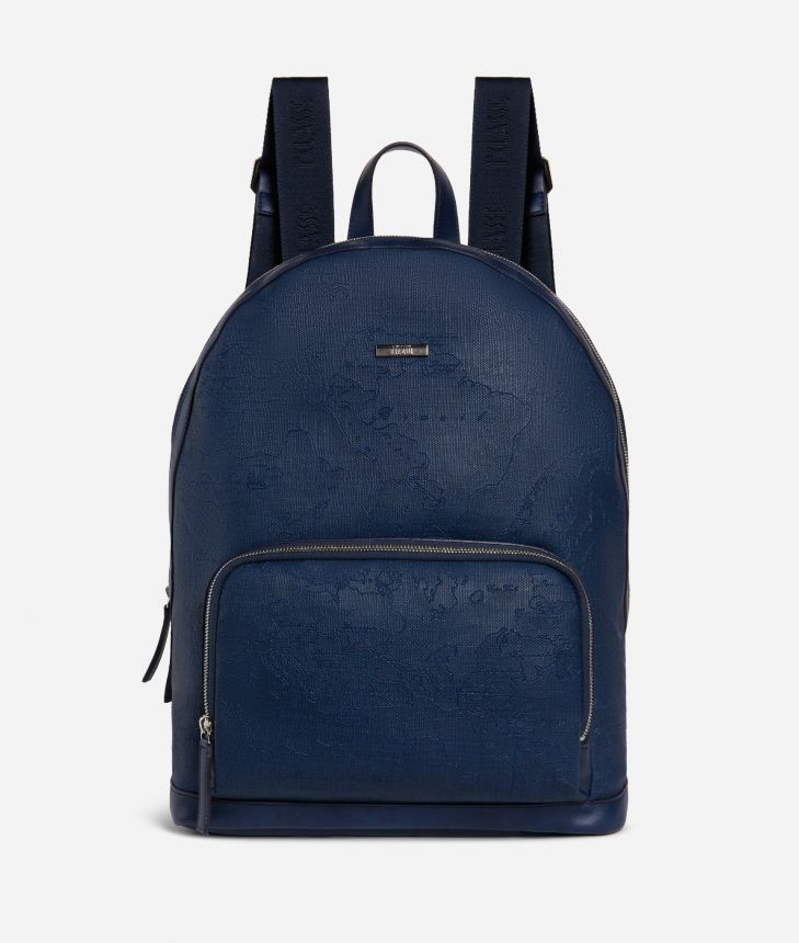 Backpack in canvas with map imprint Blue,front