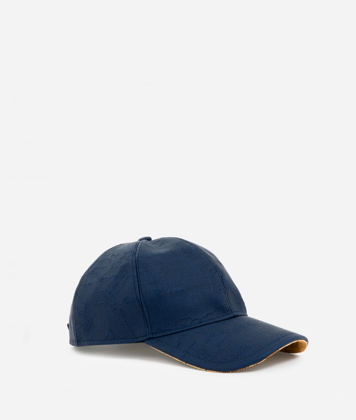 Baseball cap in canvas with map imprint Blue,front