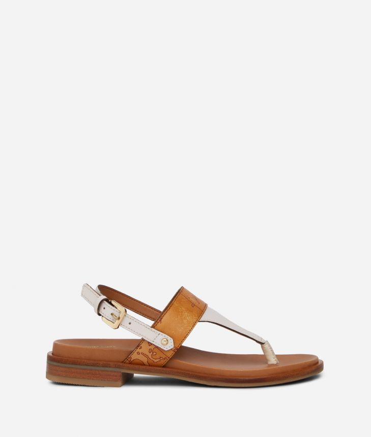 Thong sandals in smooth leather White,front