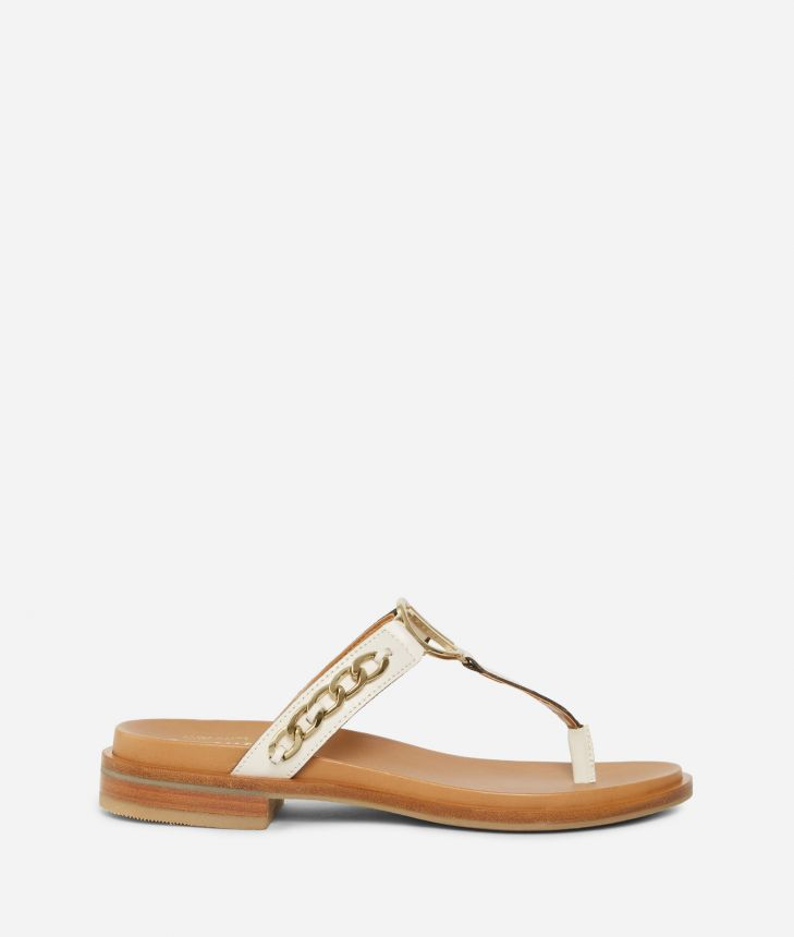 Thong sandals in smooth leather with chain detail White,front
