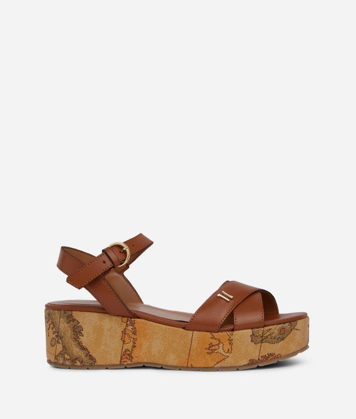 Sandali punta squadrata in pelle liscia Marroni,front