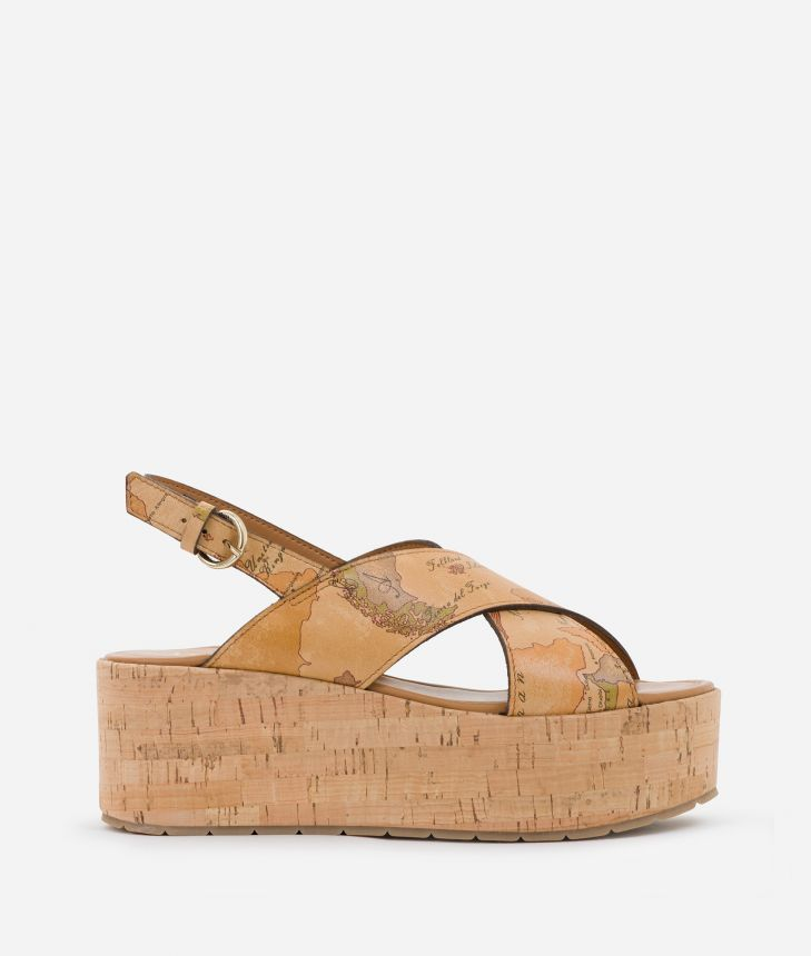 Sandals in Geo Classic print nappa,front